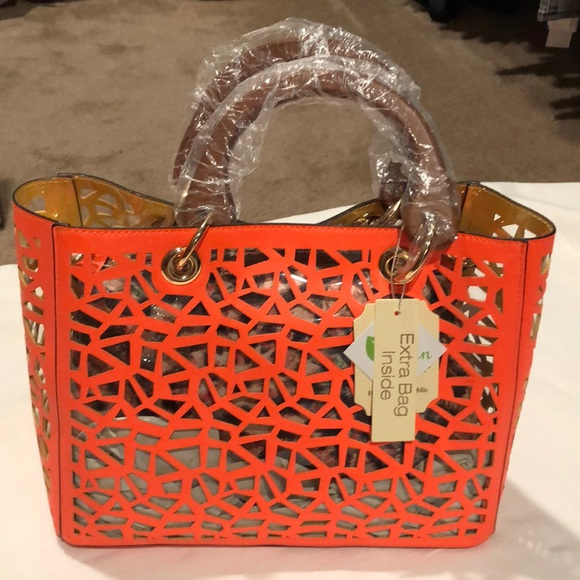 Handbags - Orange/Clear bag - purse (with extra bag inside)